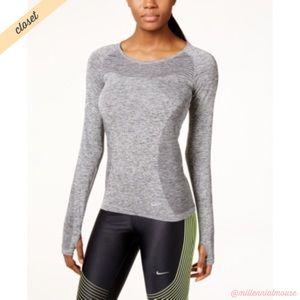 [Nike] Gray Dri-FIT Knit Long Sleeve Running Shirt
